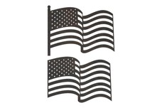 Two Wavy USA Flag DXF