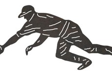 Diving Baseball Player DXF File