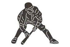 Baseball Player - Bunting a Pitch DXF File