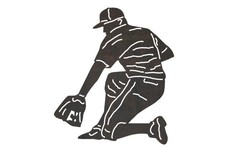 Baseball Player - One_Knee_Bend DXF File