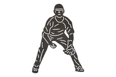 Baseball Player - Defensive_Crouch DXF File