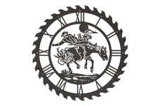Bucking Bronco Sawblade Clock