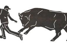 Bull Chasing Man DXF File