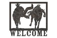 Bulldogging Welcome Sign