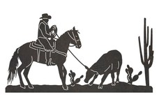 Calf Roping Cowboy DXF File