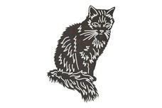 Long-haired Cat DXF File