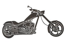 Chopper Motorcycle Side-View DXF File