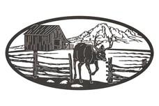 Deer & Cabin Oval Insert