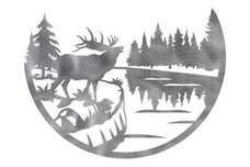 Elk and Lake Wall Art