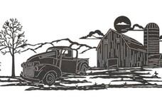 Farm Truck Scene DXF File