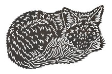 Curled Up Fox DXF File