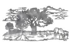 Grazing Horse And Oak Tree DXF File
