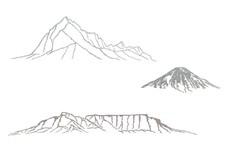 Three Mountain Scenes DXF File