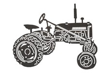 Old Farm Tractor Side-Profile DXF File