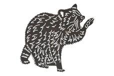 Raccoon Raising Paw DXF File