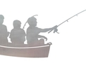 Three Children Fishing DXF File