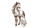 Standing Girl And Horse DXF File
